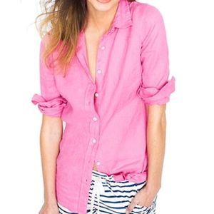 J. Crew Perfect Shirt in Pink Linen